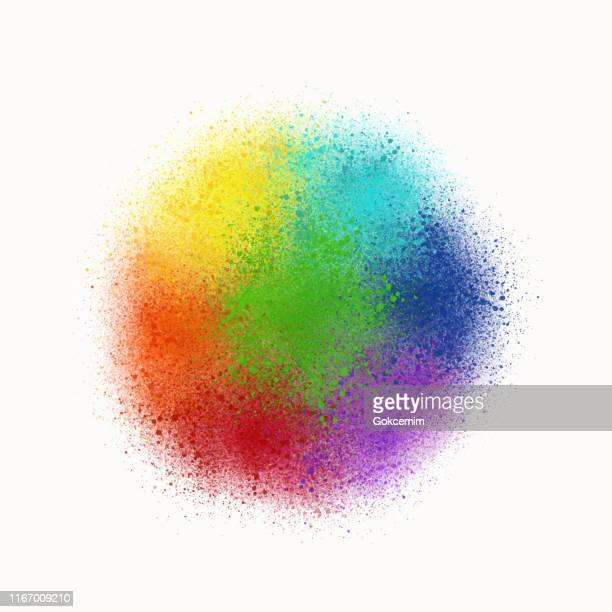 colorful rainbow watercolor splashes background. abstract rainbow circle design element. - splashing droplet stock illustrations, clip art, cartoons, & icons