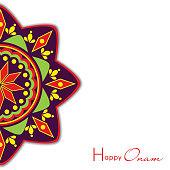 Colorful rangoli for Onam festival celebrations.