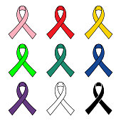 Colorful realistic awareness ribbons set isolated on white background icon vector graphic design