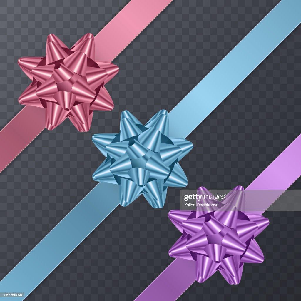 Colorful, realistic Bows. Gift Element For Card Design. Holiday Background, Vector Illustration