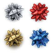 Colorful realistic bows isolated on white.