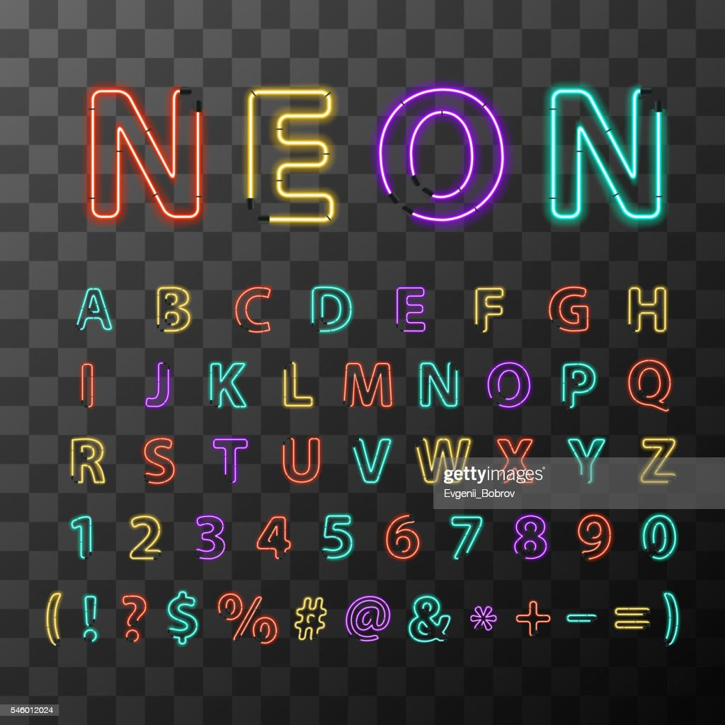 Colorful realistic neon letters, full latin alphabet