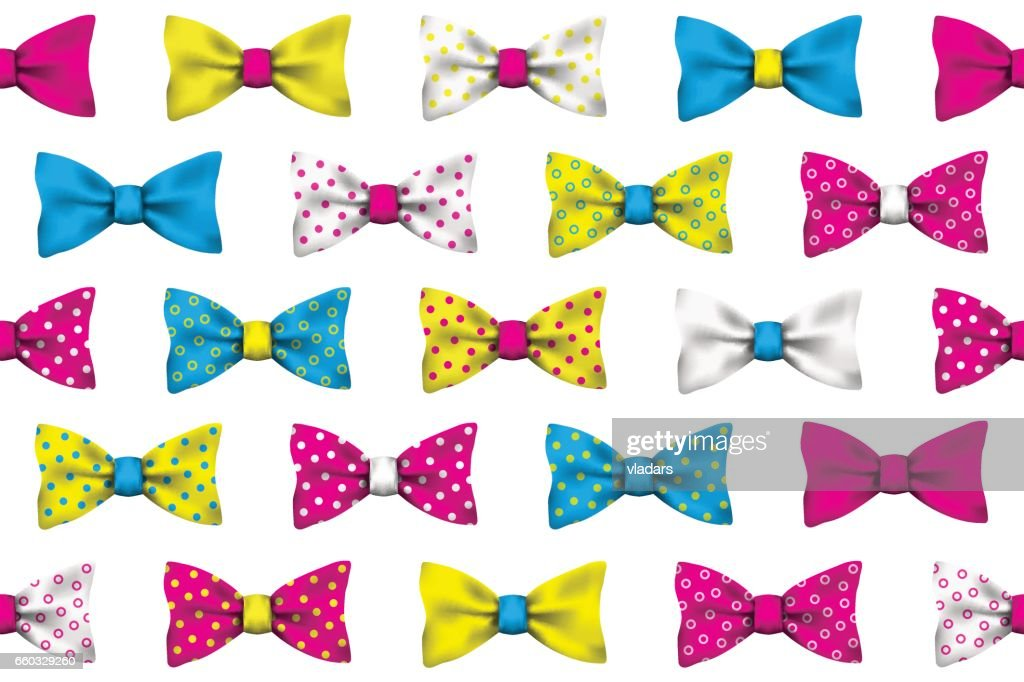 Colorful realistic vector bow tie seamless pattern