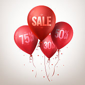 Colorful Red Sale Balloons Flying for Christmas Promotion