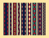 Colorful red yellow blue aztec ornaments geometric ethnic seamless borders