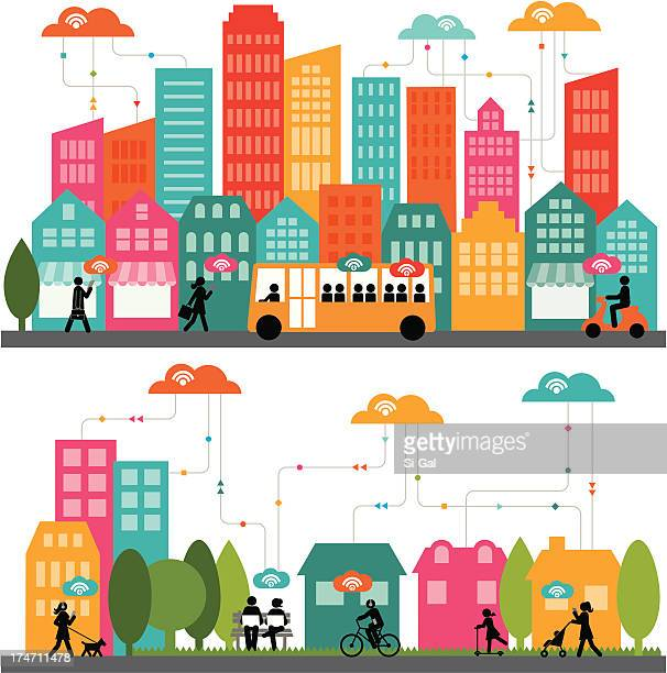colorful rendered city landscape - house exterior stock illustrations, clip art, cartoons, & icons