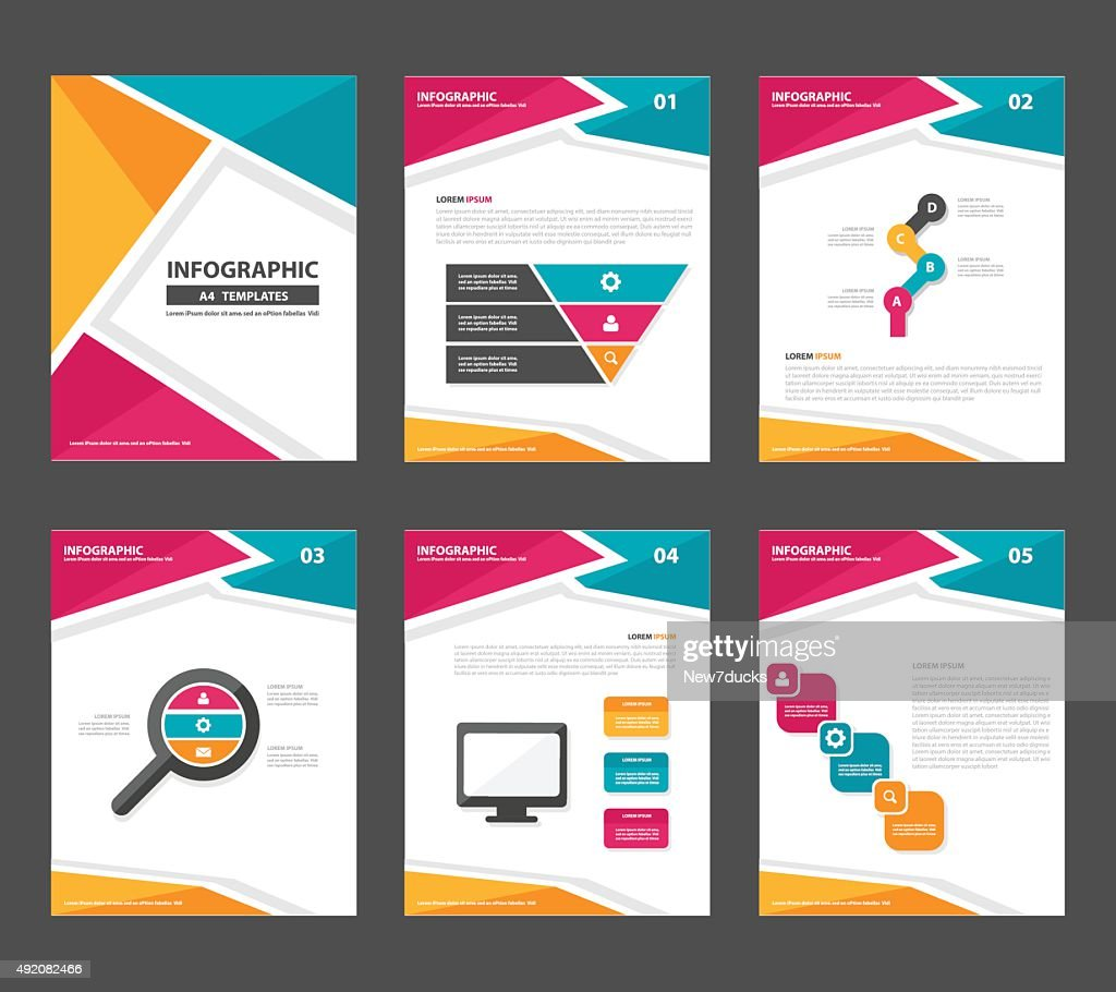 colorful report Infographic elements presentation template flat design