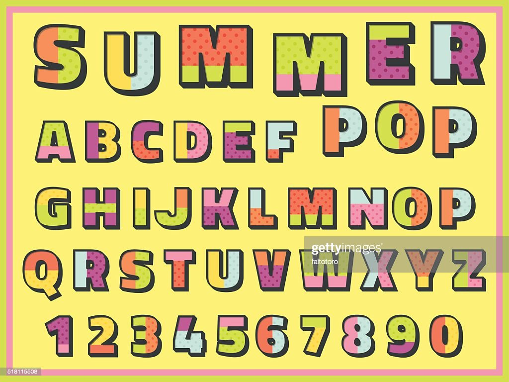 colorful retro font with number