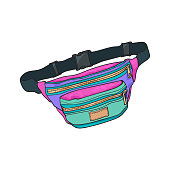 Colorful retro style colorful waist bag, fashion accessory from 90s