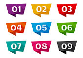 Colorful ribbon banner font numbers from 01 to 09. Vector illustration