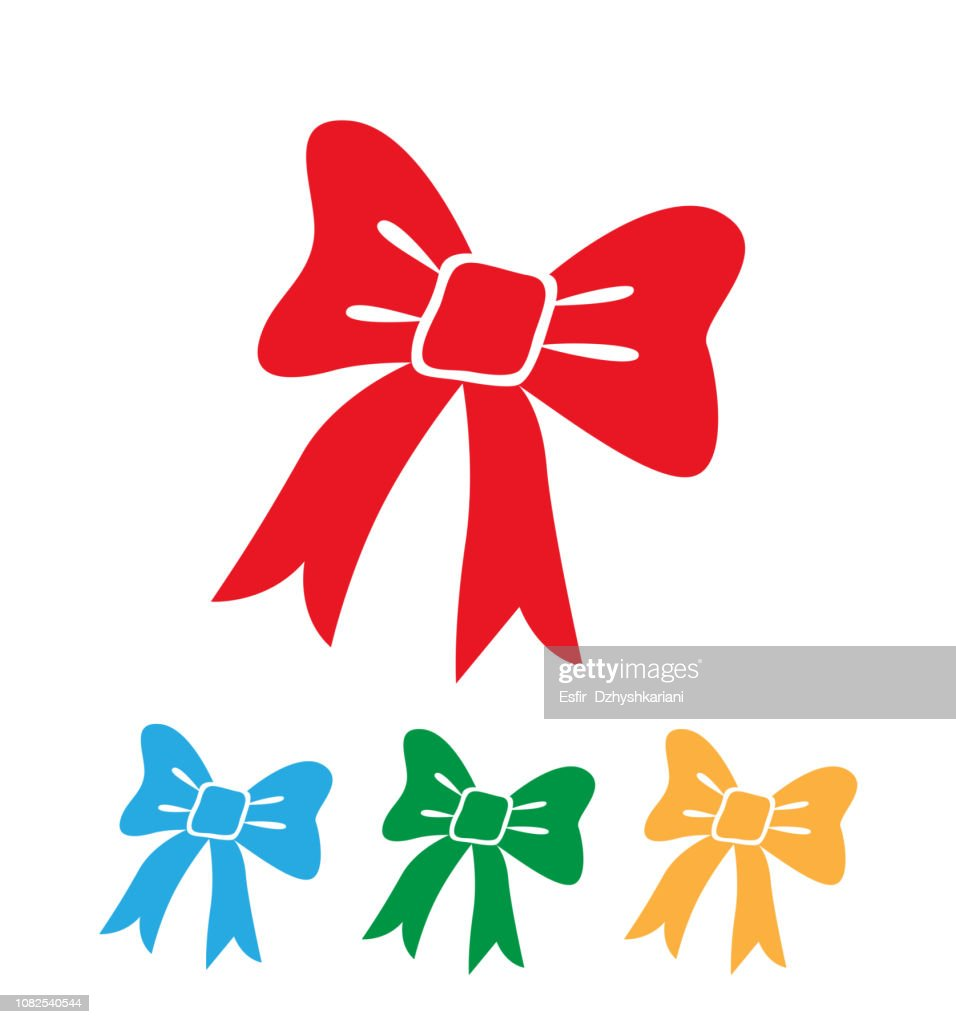 Colorful ribbon bows set isolated on white