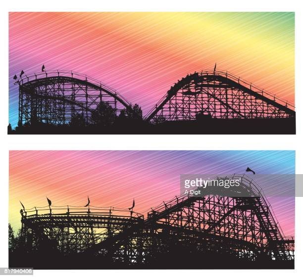 colorful roller coasters - carnival ride stock illustrations, clip art, cartoons, & icons