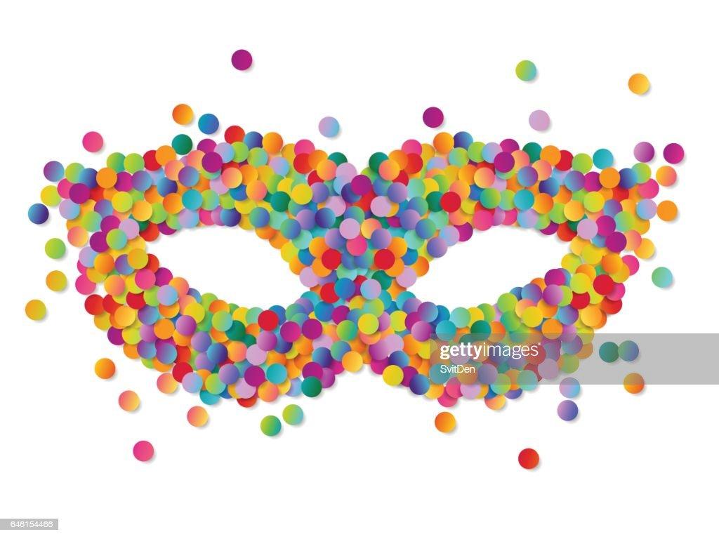 Colorful round confetti carnival mask vector illustration