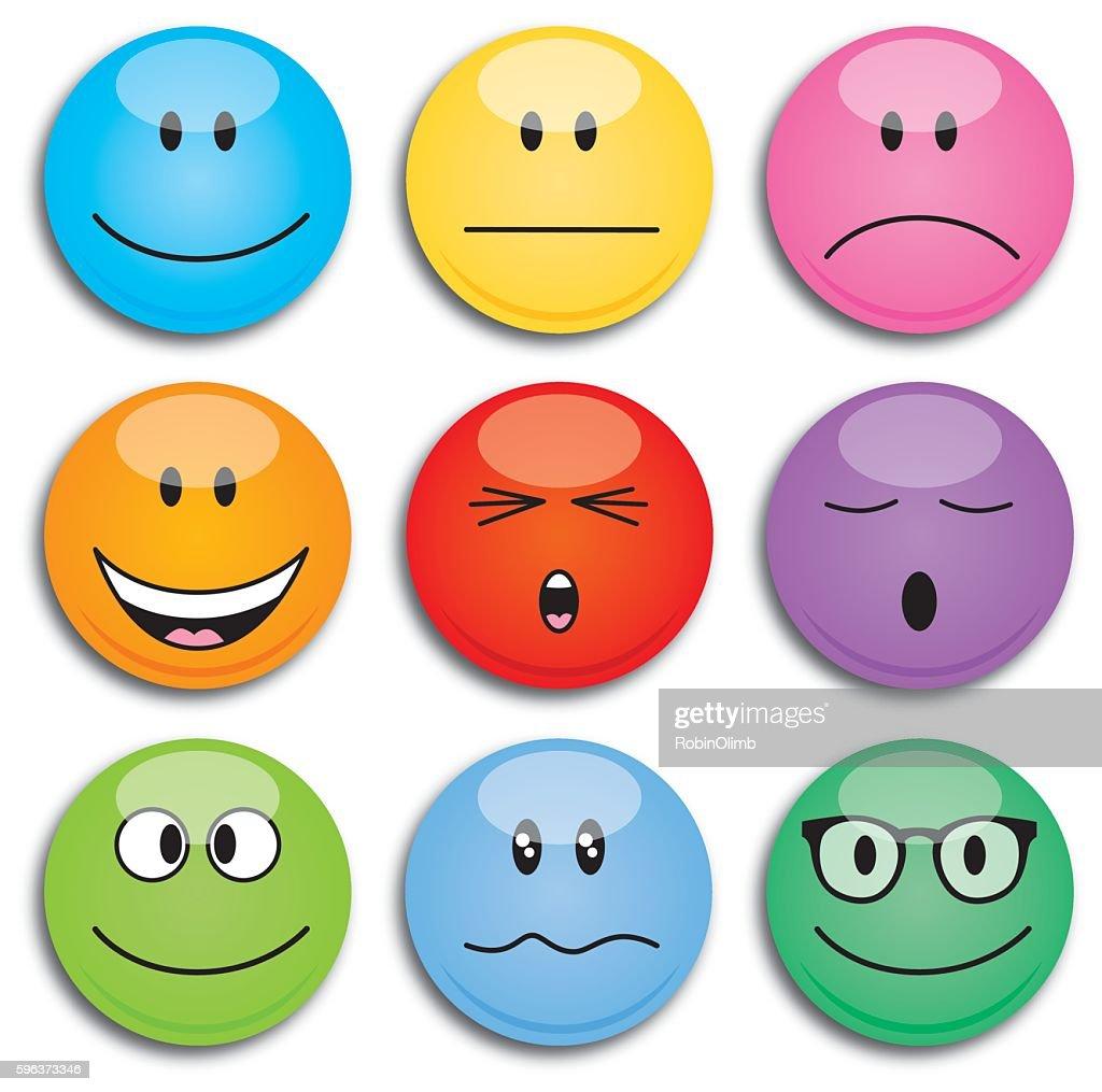 Colorful Round Emoji Faces
