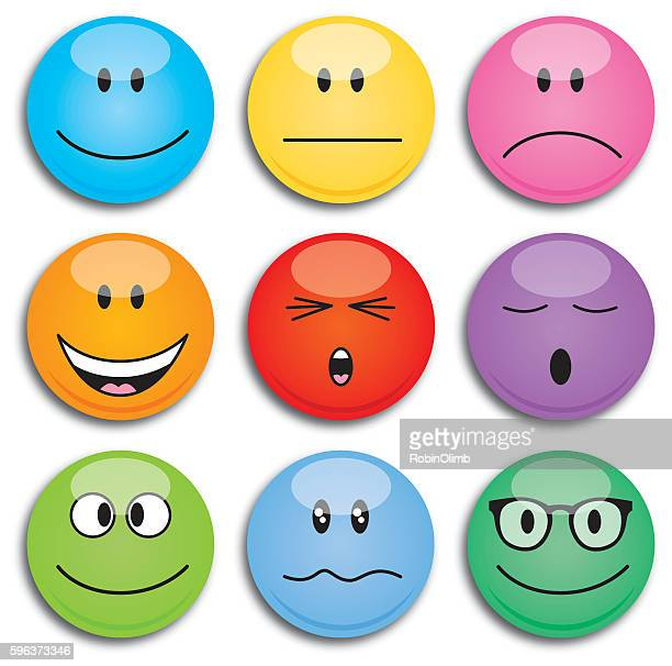 colorful round emoji faces - eyes closed stock illustrations, clip art, cartoons, & icons