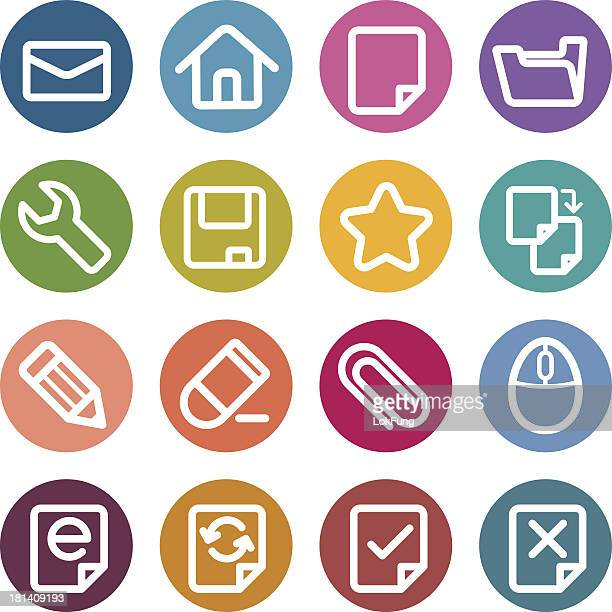 stockillustraties, clipart, cartoons en iconen met colorful round icons - computer - e mail