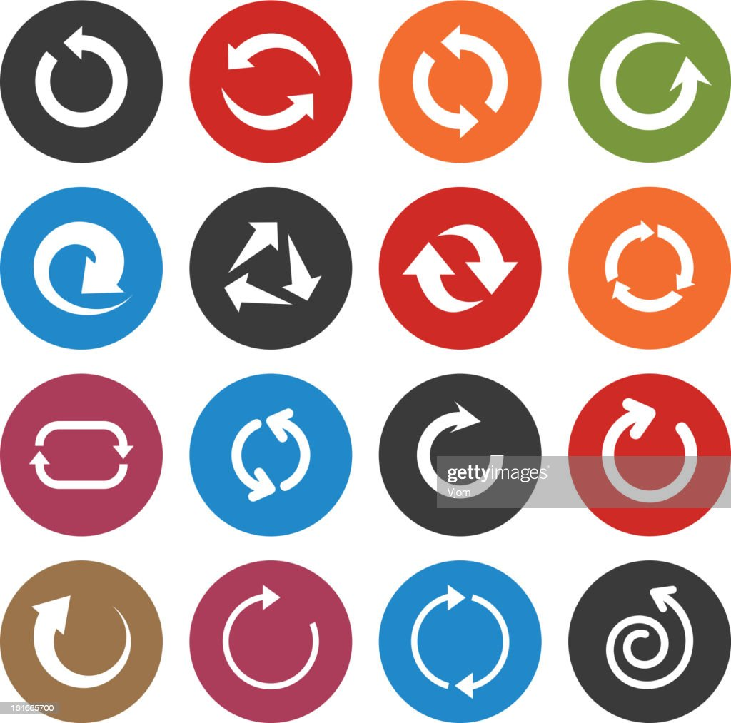 Colorful round return arrow icons