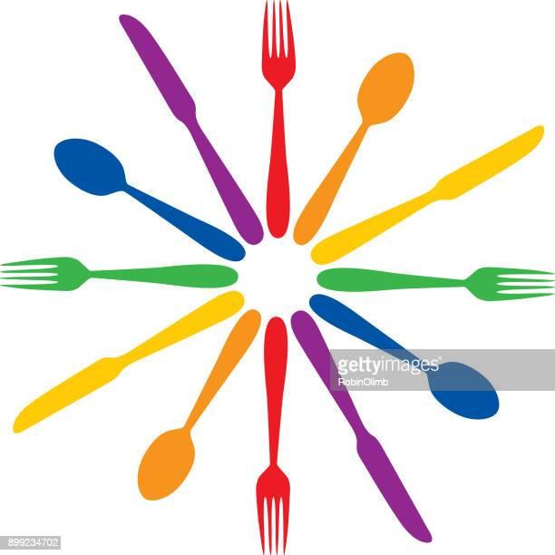 Colorful Round Silverware Icon