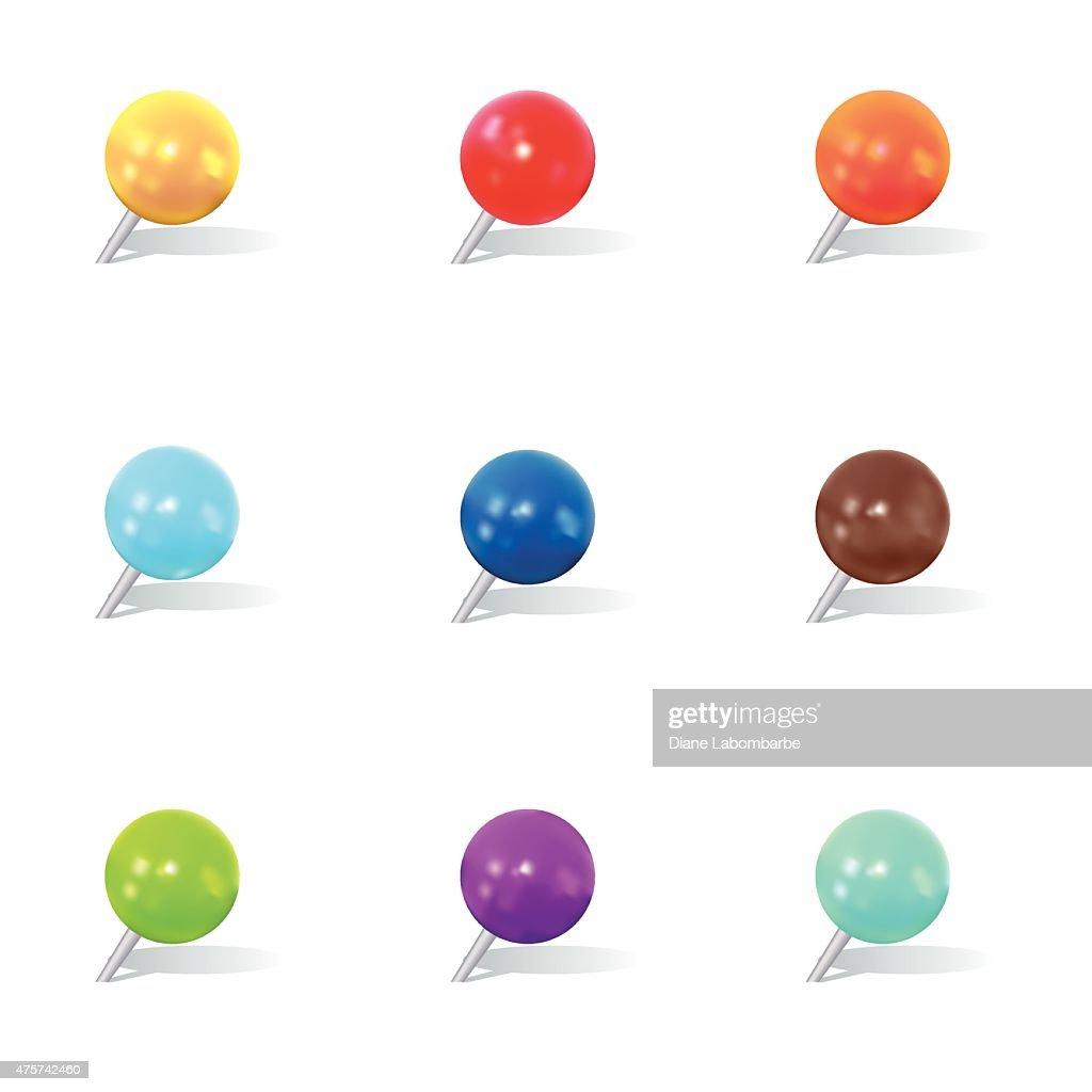 Colorful Round Thumbtack Set With Shadows : stock illustration