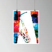 Colorful saxophone vector illustration