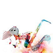 Colorful saxophone with music notes and butterflies