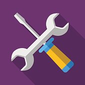 Colorful screwdriver and wrench icon in modern flat style