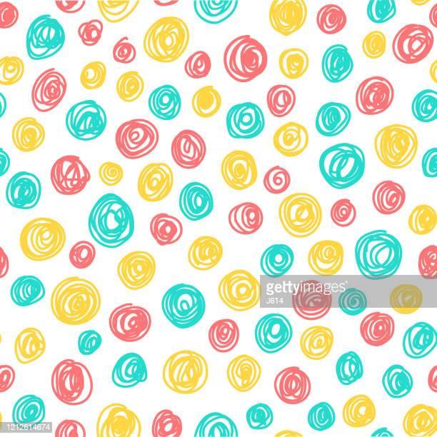 ilustraciones, imágenes clip art, dibujos animados e iconos de stock de colorido patrón de círculos de garabatos - inocentada
