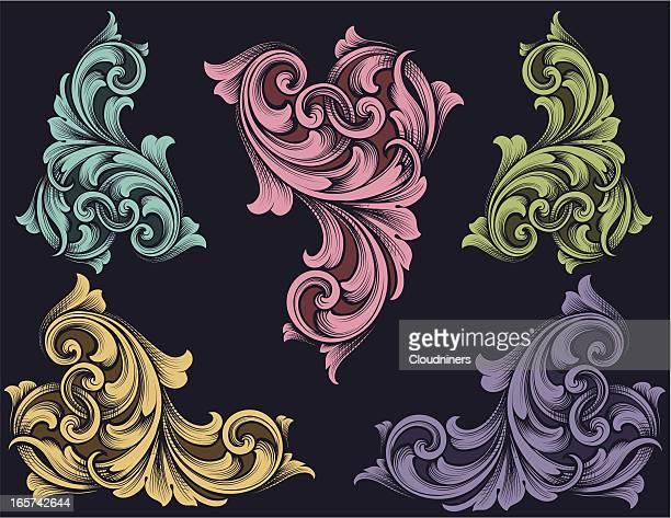 鮮やかな渦巻き模様の設定 - ペーズリー点のイラスト素材/クリップアート素材/マンガ素材/アイコン素材