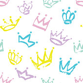 Colorful seamless Crown pattern isolated on white.