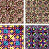 Colorful seamless mosaic pattern background set