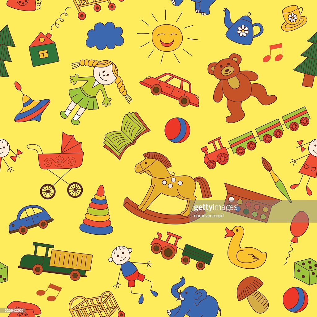 Colorful seamless pattern, childish doodles.