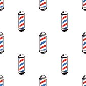 Colorful seamless pattern with barber poles, vintage vector illustration