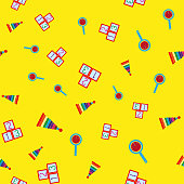 Colorful seamless pattern with children's toys. Repetitive pyramids, rattles, cubes with numbers. Vector illustration.
