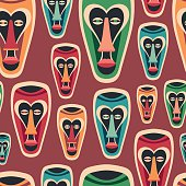 Colorful seamless pattern with funny carnival masks.