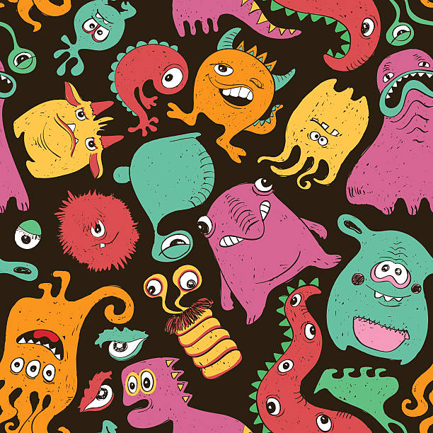 Colorful Seamless Pattern With Funny Monsters.
