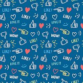 Colorful seamless pattern with hands showing like