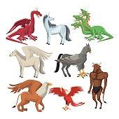colorful set animal greek mythological creatures