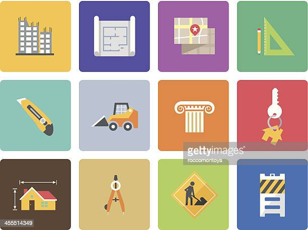 Colorful set of architecture icons