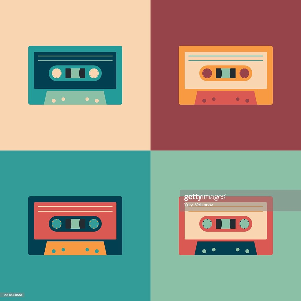 Colorful set of audio cassettes.