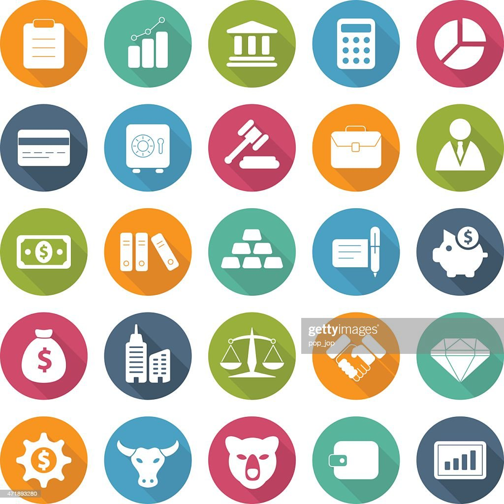 Colorful set of business and finance icons