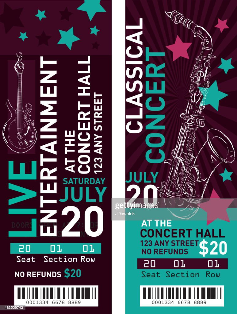 Colorful Set Of Classical Entertainment Concert Ticket Templates : Vector  Art  Concert Ticket Maker