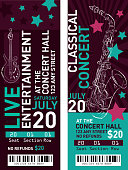 Colorful set of classical entertainment concert ticket templates