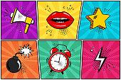 Colorful set of comic icon in pop art style. Megaphone, lips, star, bomb, alarm clock, lightning. Vector