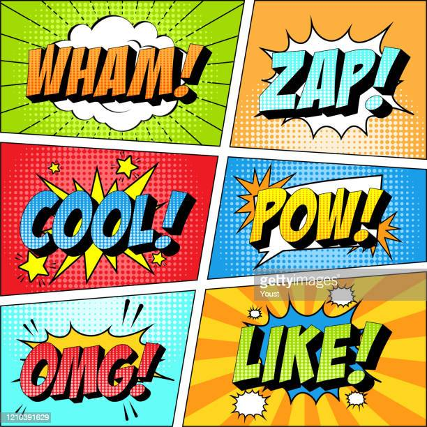 colorful set of comic icon in pop art style. wham, zap, cool, pow, omg, like. - humor stock illustrations