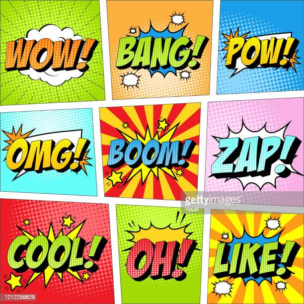 colorful set of comic icon in pop art style. wow, bang, pow, omg, boom, zap, cool, oh, like. - humor stock illustrations