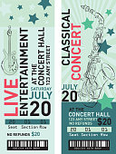 Colorful set of concert ticket templates