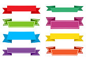 Colorful set of festive ribbons. Ribbons banners. Vector illustration