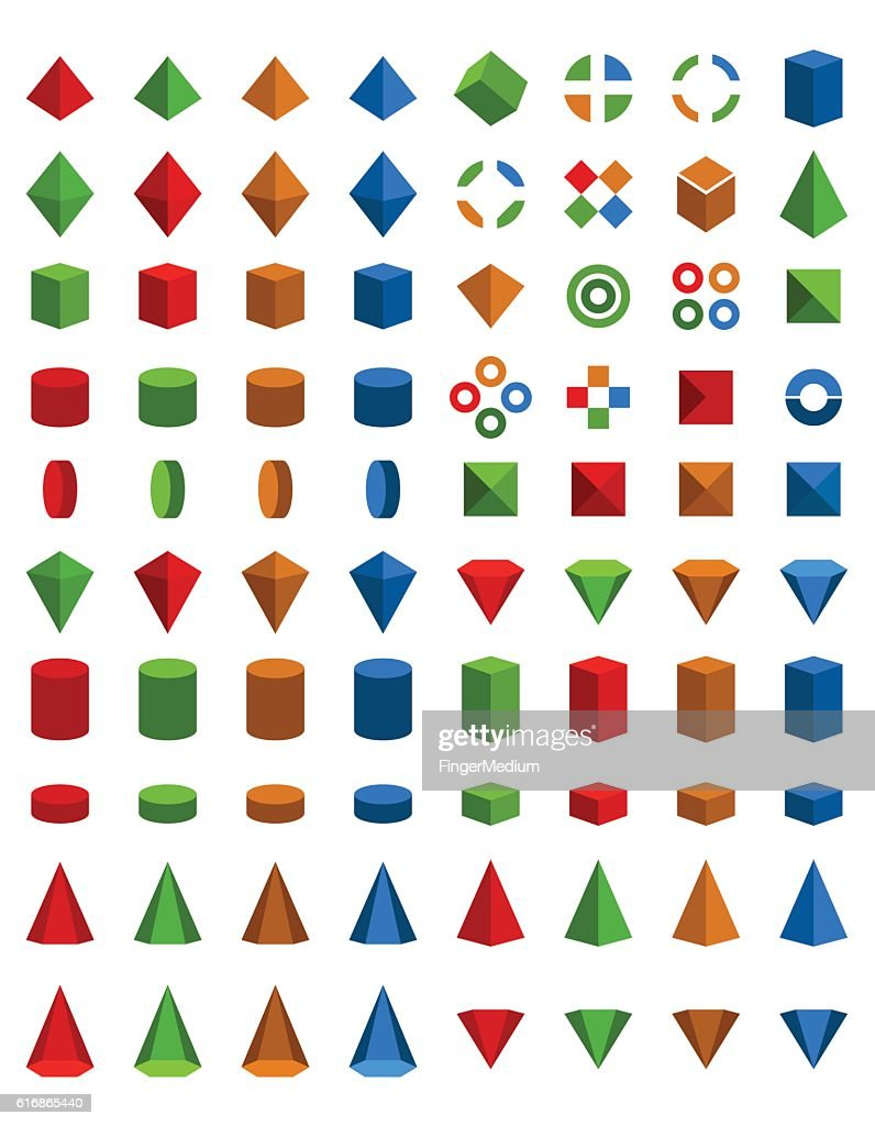 Colorful set of geometric shapes : stock illustration
