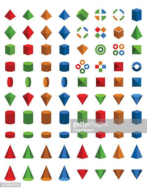 colorful set of geometric shapes - cone shape stock illustrations