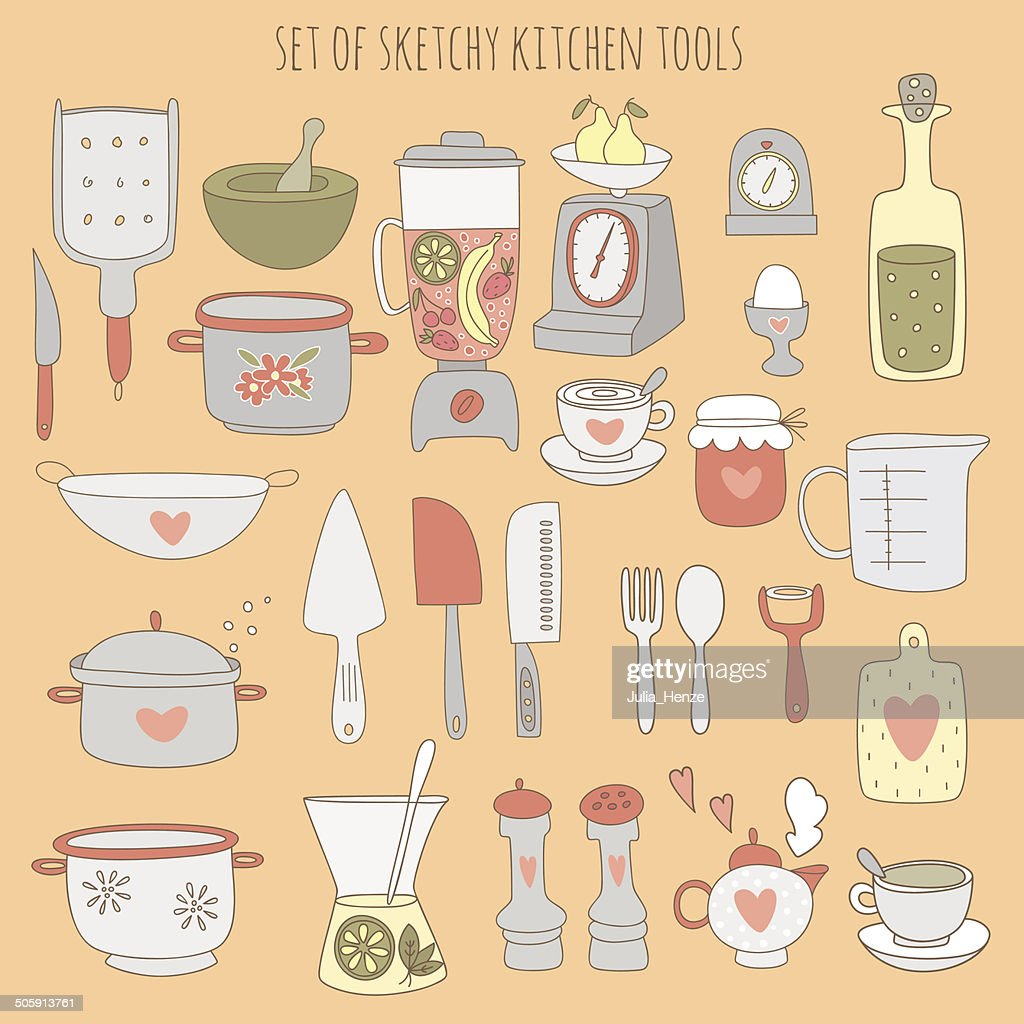 Colorful set of kitchen tools